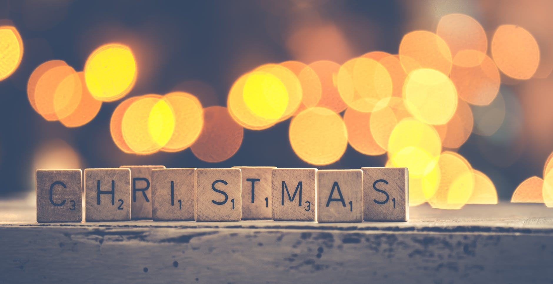 christmas scrabbles bokeh photography