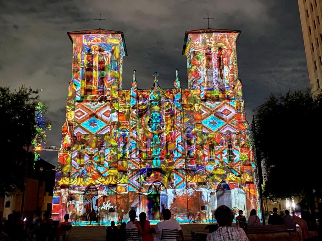 The Saga Light Show at San Fernando Cathedral in San Antonio Texas