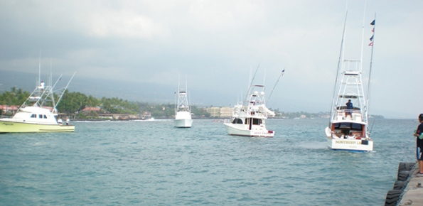 Fishing boats line up in Kailua Bay, waiting to check in their anlgers after the first day of the 50th anniversary Hawaiian International Billfish Tournament. (Hawaii247.com photo by Karin Stanton)