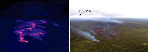 A comparison of a thermal image (left) with a normal photograph (right) of the Kahaualeʻa 2 flow front. Brighter colors in the thermal image depict hotter surface temperatures, with white and yellow areas showing active pāhoehoe breakouts. These breakouts are distributed in a scattered fashion across this portion of the flow field. The vent for the Kahaualeʻa 2 flow is on Puʻu ʻŌʻō, visible in the upper left of the photograph. Photo courtesy of USGS/HVO