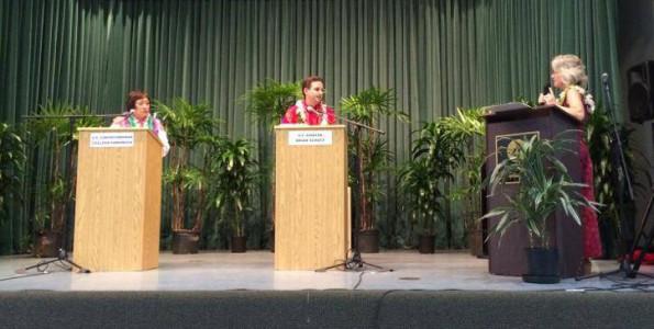 U.S. Congresswoman Colleen Hanabus, U.S. Senator Brian Schatz and moderator Sherry Bracken at the U.S. Senate candidate forum in Hilo Wednesday (July 2). Photography by Baron Sekiya | Hawaii 24/7