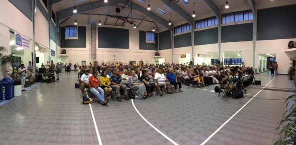 The standing room only crowd at Sangha Hall in Hilo for the Colleen Hanabusa and Brian Schatz forum Wednesday (July 2). Photography by Baron Sekiya | Hawaii 24/7