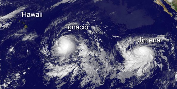 Hawaii, Hurricane Ignacio and Tropical Storm Jimena in this image taken at 11 p.m. HST Thursday, August 27, 2015. Photo courtesy of NOAA-NASA GOES Project