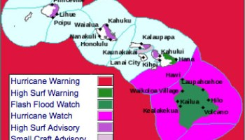 High Surf Warning for east facing shores with 10-15 foot