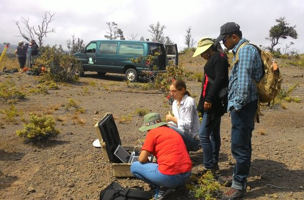 During the 2016 International Training Program on the Island of Hawaiʻi, a USGS Hawaiian Volcano Observatory scientist (center, white shirt) demonstrated how to use Global Positioning System (GPS) equipment to measure precise locations of points on Earth's surface. Such information can be used to track unrest at volcanoes around the world and helps scientists to better forecast hazardous volcanic activity. Photo courtesy of UHH Center for the Study of Active Volcanoes.