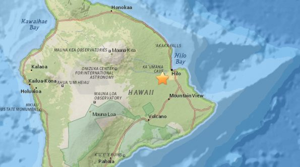 On December 27, at 11:53 a.m., HST, a magnitude-3.3 earthquake occurred approximately 8 km (5 mi) southwest of Hilo at a depth of 10 km (6.2 mi).