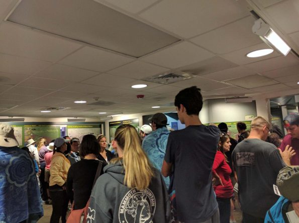 Visitors congregate at Kilauea Vis itor Center Thursday afternoon. Photo courtesy NPS