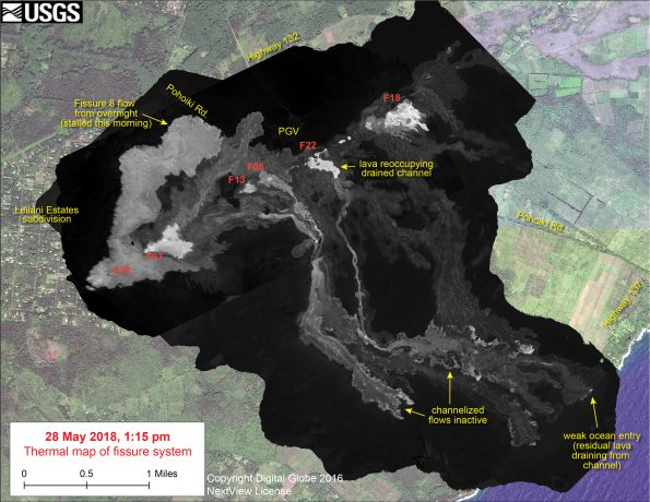 This thermal map shows the fissure system and lava flows as of 1:15 pm on Monday, May 28. The flow from Fissure 8 that reached Pohoiki Rd. this morning stalled, though activity restarted at Fissure 8 in the afternoon shortly after this map was made. The channelized flows that had reached the ocean were inactive today - a small amount of residual lava was draining from the abandoned eastern channel into the ocean, creating a weak ocean entry plume. Fissure 22 restarted today with lava starting to reoccupy the drained channel. The black and white area is the extent of the thermal map. Temperature in the thermal image is displayed as gray-scale values, with the brightest pixels indicating the hottest areas. The thermal map was constructed by stitching many overlapping oblique thermal images collected by a handheld thermal camera during a helicopter overflight of the flow field. The base is a copyrighted color satellite image (used with permission) provided by Digital Globe.