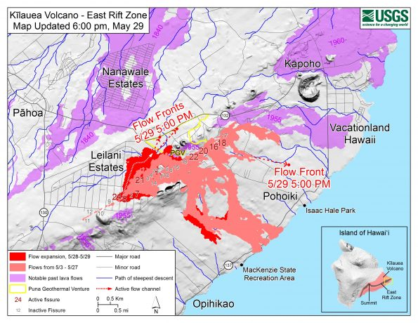 Map as of 6:00 p.m. HST, May 29, 2018. Given the dynamic nature of Kīlauea's lower East Rift Zone eruption, with changing vent locations, fissures starting and stopping, and varying rates of lava effusion, map details shown here are accurate as of the date/time noted—and could have changed rapidly since that time. Shaded purple areas indicate lava flows erupted in 1840, 1955, 1960, and 2014-2015.