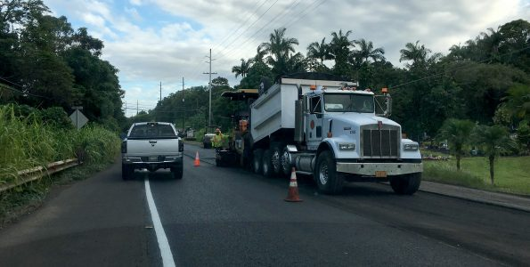 Roadwork paving along Mamalahoa Highway (Route 19) near Paukaa. Hawaii 24/7 File Photo