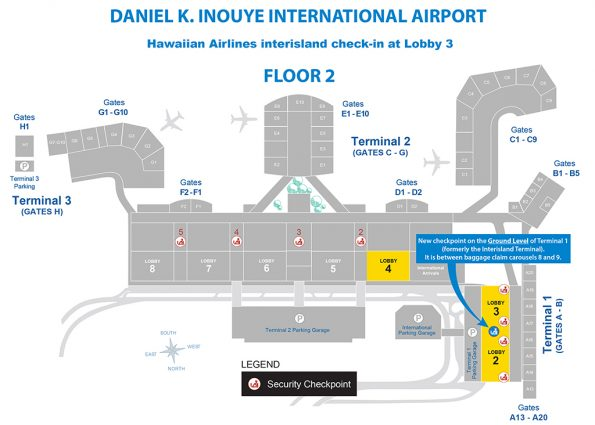 Hawaiian Airlines interisland check-in for Honolulu move to Lobby 3, Terminal 1.