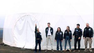Crew exits HI-SEAS habitat Wednesday, March 6, 2019. Musilova, Mulder, Sirikan, Weert, Burstein, Pothier Photo courtesy Shannon Manamtam