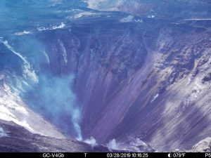 This image is from a temporary monitoring camera on the west rim of Kilauea Caldera. The camera is looking East towards the bottom of the newly enlarged Halemaʻumaʻu crater, although the deepest part of the crater is not visible from this vantage point. The crater from left to right (roughly NNE to SSW) is approximately 1 km (0.6 mi) across. The depth of the crater in the visible image from the rim is several hundred meters. Image courtesy of USGS/HVO Webcam