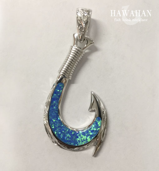 opal fish hook necklace