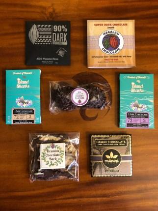 7 chocolate bars, Puna Chocolate Co., Island Sharks Chocolate, Hakalau Chocolate, Mānoa Chocolate