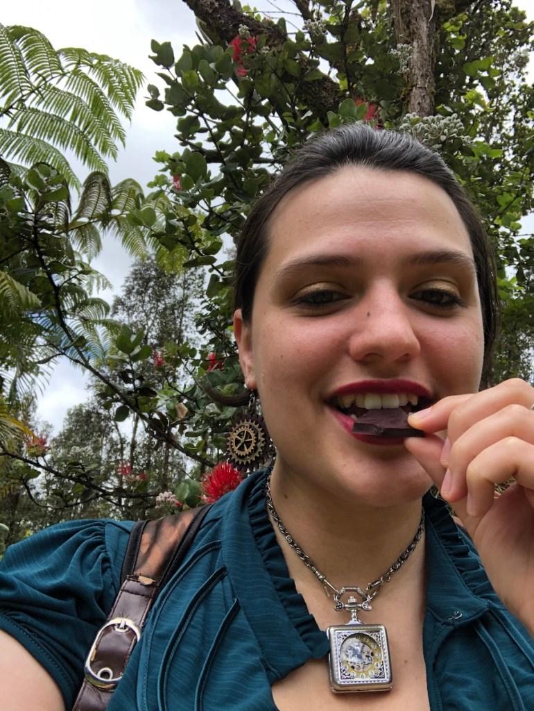 Asia Olsen, Hawaiʻi, 90% dark chocolate, Puna Chocolate Co., woman eating chocolate