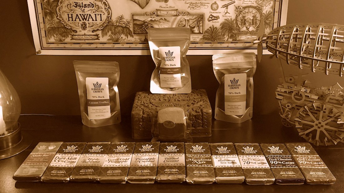 blog header, Hawaiian Crown Chocolate Factory, Hawaii Cacao express, chocolate purchase, sepia