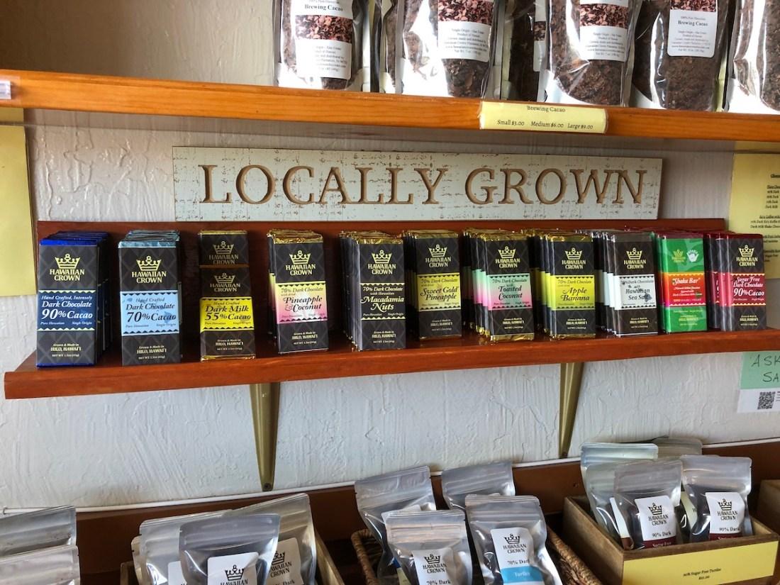 Hawaiian Crown Chocolate Factory, chocolate bars, cacao products, store, Hilo