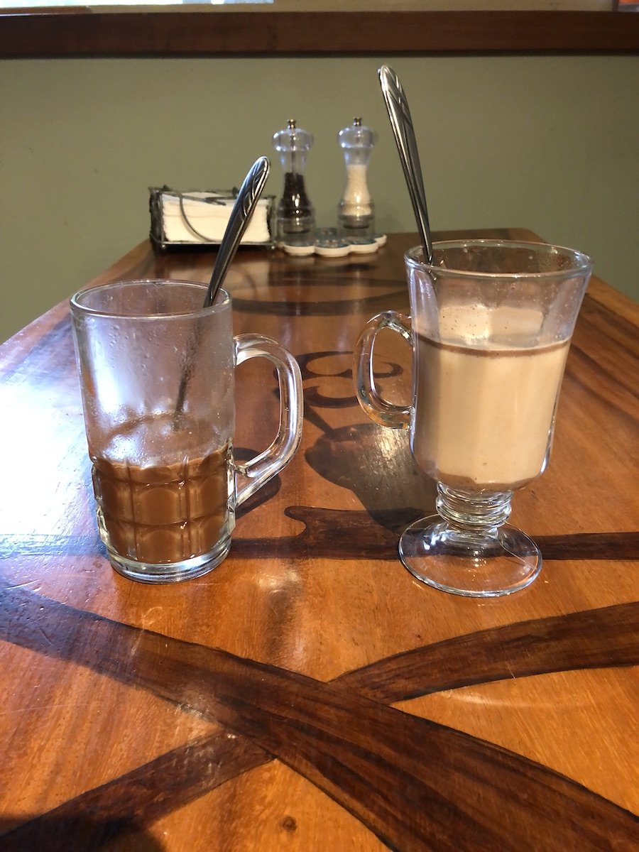 drinking chocolate, water, milk, two glasses