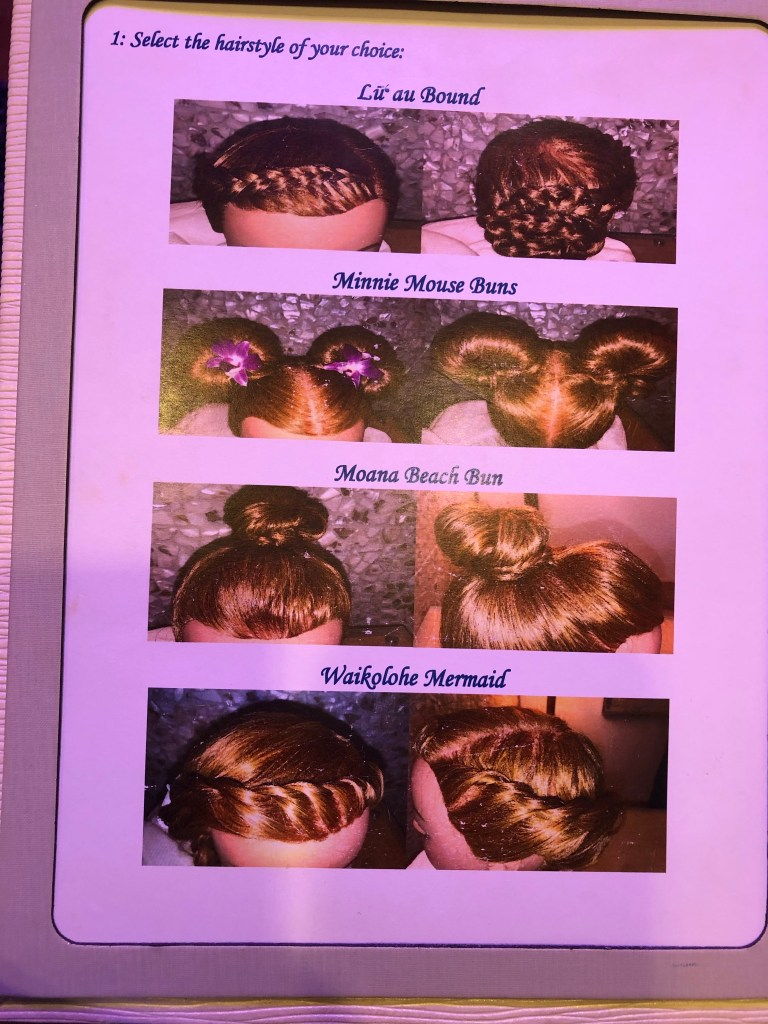 Hair style options at Painted Sky