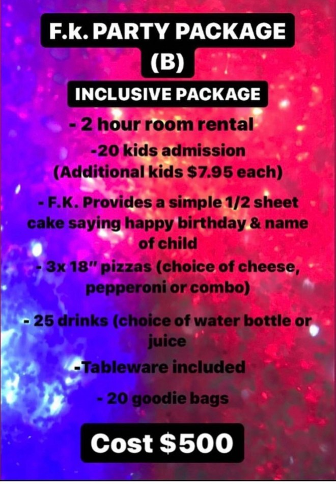 Funtastic KidZone Party Package (A)