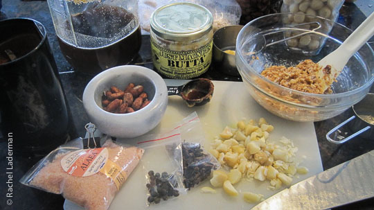 Creativity and fun with delicious ingredients - from top going counter clockwise, mac nut butter, cane syrup, cacao beans, Molokai sea salt, allspice, cloves, mac nuts ... mix 'em all together, how can you go wrong?