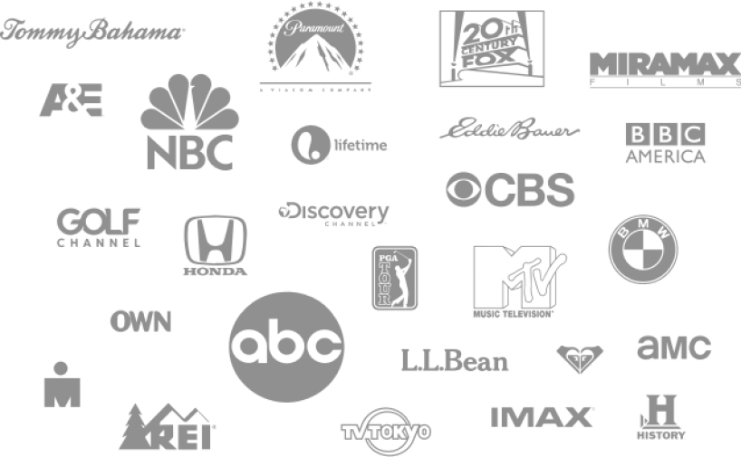 Visiting productions logos: Tommy Bahama, Paramount, 20th Century Fox, Miramax, A&E, NBC, Lifetime, Eddie Bauer, BBC America, Golf Channel, Honda, Discovery Channel, CBS and more