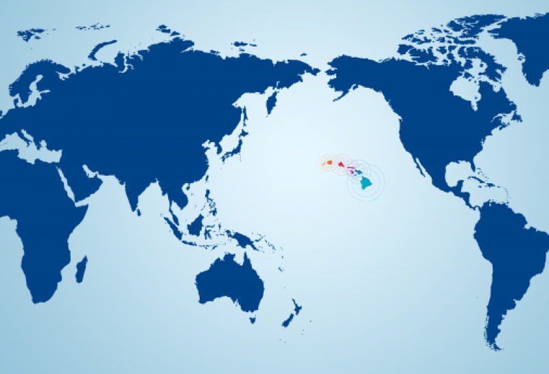 Hawaii centered on world map