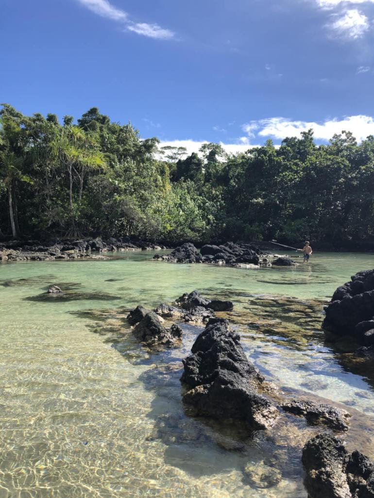 Everything you Need to Know About Traveling to Hawaii Big Island with Kids featured by top Hawaii travel blog, Hawaii Travel with Kids | Carlsmith Beach Park near Hilo is one of the best beaches on the Big Island for kids