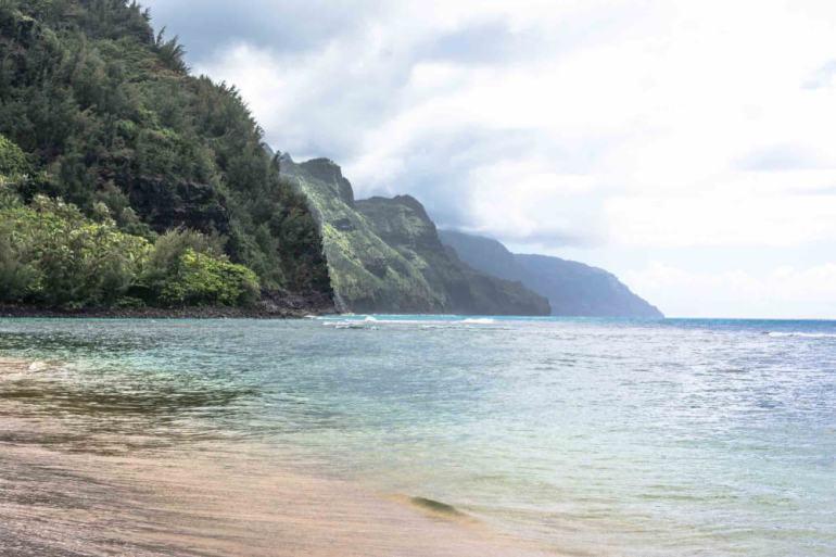 Kee Beach is a popular sunset Kauai beach at the end of the road on Kauai