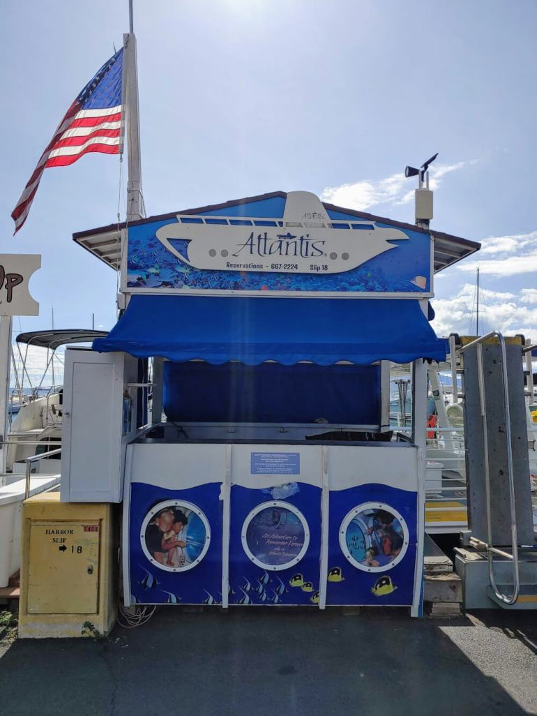Things to Do on Maui: Atlantis Submarine Tour featured by top Hawaii blog, Hawaii Travel with Kids | You'll wait for your Maui Atlantis Submarine Tour at Lahaina Harbor