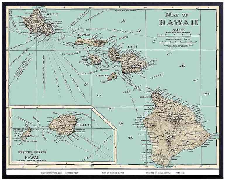 Grab this Vintage Map of Hawaii as an awesome Hawaii gift idea by top Hawaii blog Hawaii Travel with Kids