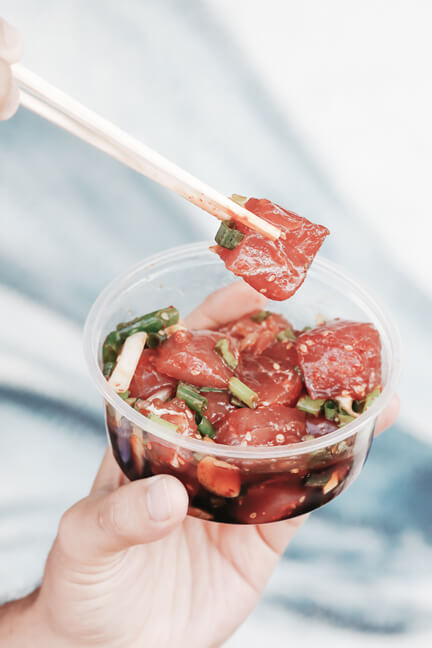 Hawaiian poke places are all the rage because they are usually portable like this one