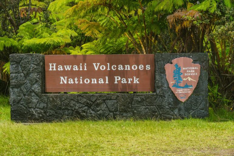 Image of the Hawaii Volcanoes National Park sign on the Big Island of Hawaii.