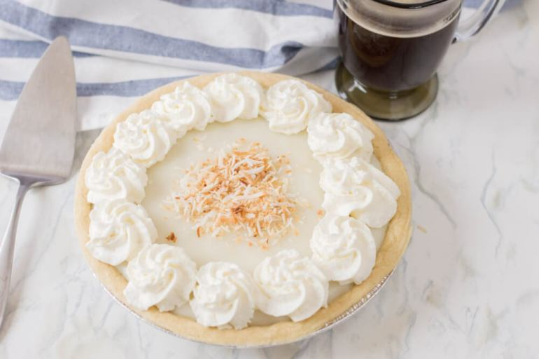61 Delicious Coconut Dessert Recipes Perfect for Summer featured by top Hawaii blog, Hawaii Travel with Kids: Haupia Chocolate Pie