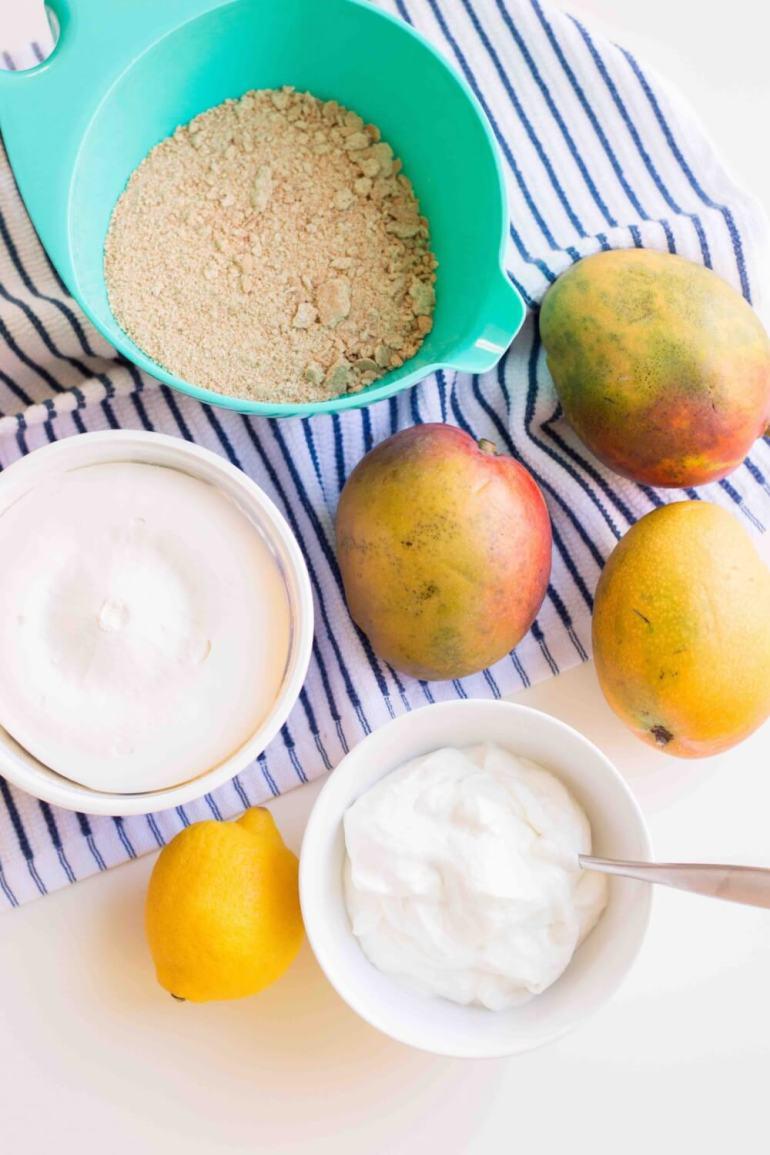 Mango Mousse Cake ingredients for a mango mousse dessert