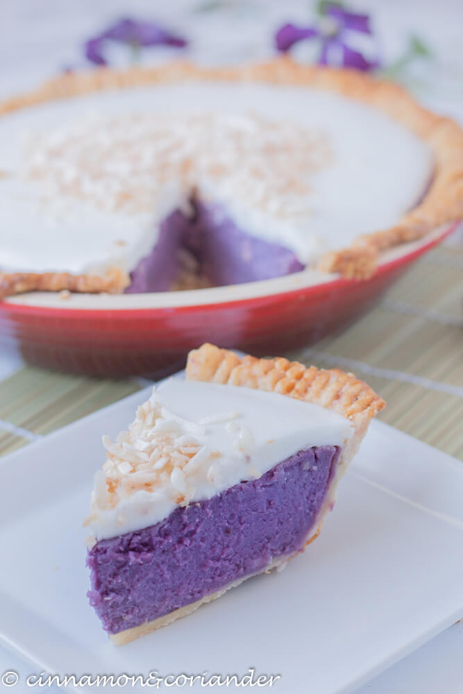61 Delicious Coconut Dessert Recipes Perfect for Summer featured by top Hawaii blog, Hawaii Travel with Kids: a slice of Hawaiian Purple Sweet Potato Pie with Haupia Coconut Topping