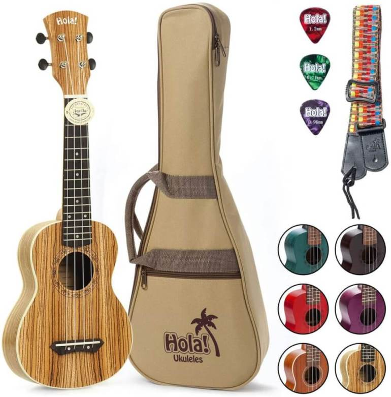 Find out the best kids ukulele to buy in this ukulele guide by top Hawaii blog Hawaii Travel with Kids. Image of Hola Ukulele Set
