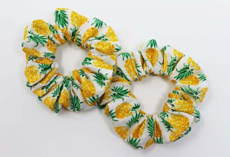 Cute Pineapple Gifts from Etsy featured by top Hawaii blog, Hawaii Travel with Kids: Pineapple Print Hair Scrunchie Scrunchy Top Knot Hair Tie image 0