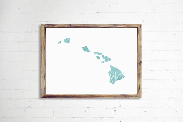 Hawaii Gift Ideas for the Holidays featured by top Hawaii blog, Hawaii Travel with Kids: Hand Lettered Hawaii Print. Hawaii Home Decor. State of Hawaii image 0