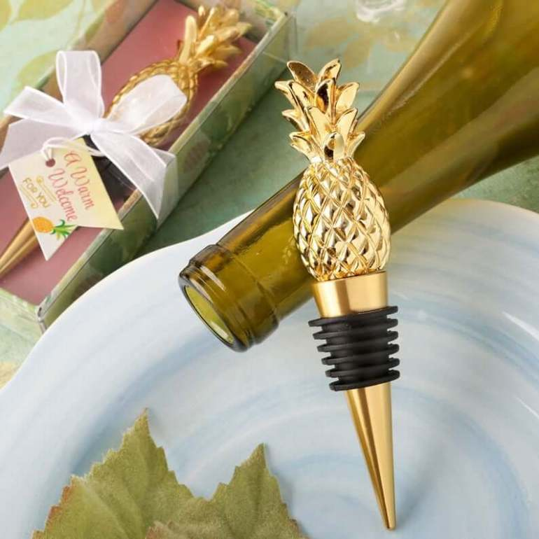 Cute Pineapple Gifts from Etsy featured by top Hawaii blog, Hawaii Travel with Kids: Pineapple Gold Bottle Stopper Favor Gold Pineapple Stopper image 0