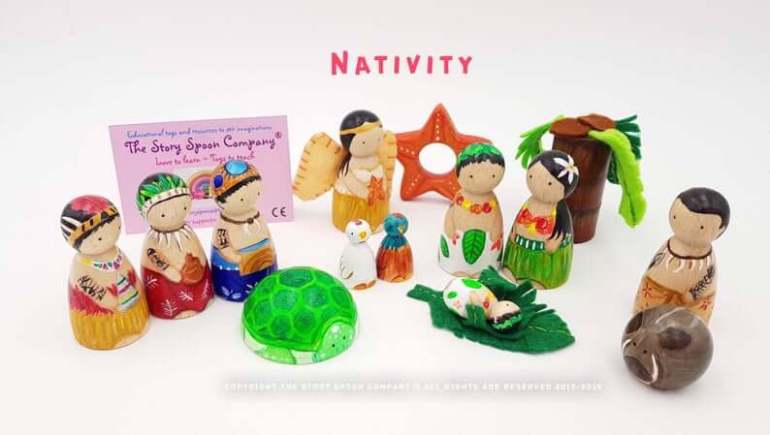 Best Hawaiian Christmas Decorations featured by top Hawaii blogger, Hawaii Travel with Kids: Add some Hawaiian Christmas decorations to your home this holiday season with these top Hawaii Christmas decorations ideas from top Hawaii blog Hawaii Travel with Kids. Image of Hawaiian Nativity set