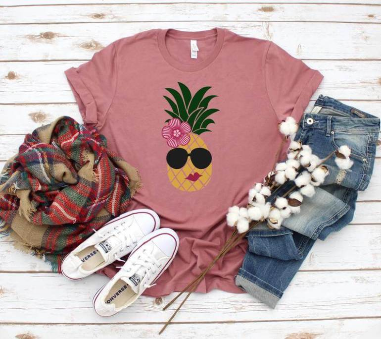 Cute Pineapple Gifts from Etsy featured by top Hawaii blog, Hawaii Travel with Kids: Pineapple shirtSummer shirt womenPineapple PartyAloha image 0