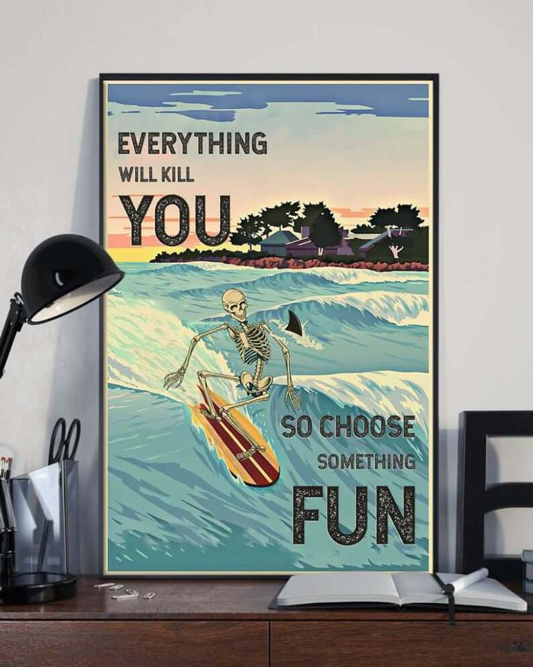 Hawaii Surfing Gifts featured by top Hawaii blog, Hawaii Travel with Kids: Choose Something Fun Surfing Skeleton Poster Surfing Poster image 0