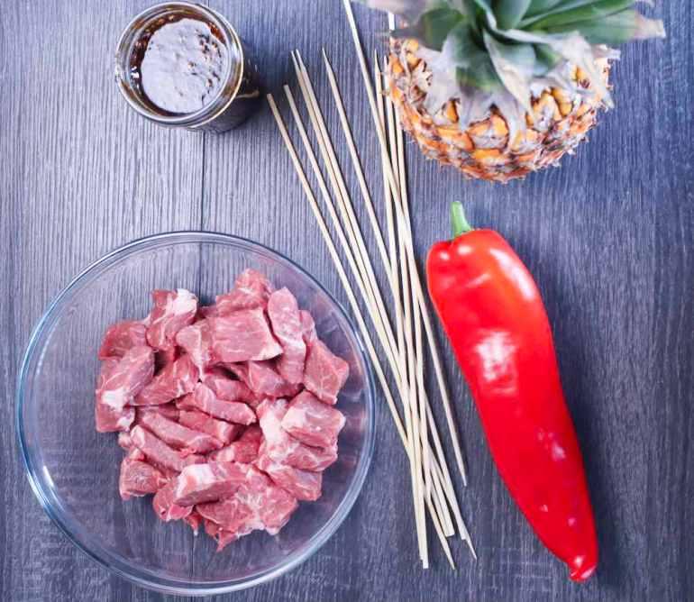 Hawaiian Teriyaki Beef Skewers Recipe featured by top Hawaii blogger, Hawaii Travel with Kids. Image of the Hawaiian Teriyaki Beef Skewer ingredients.