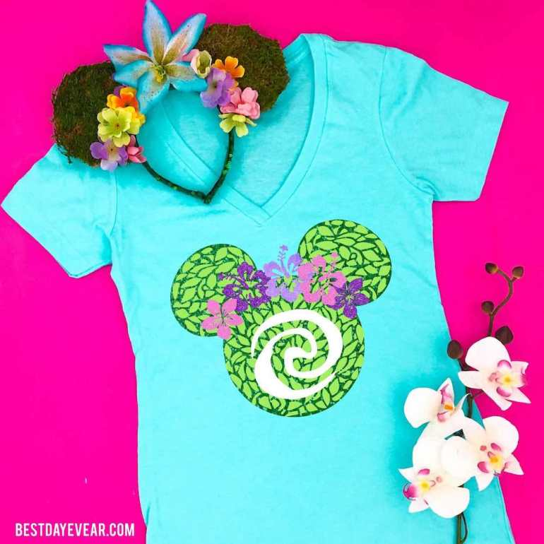 Find out the cutest Disney Aulani t-shirts to buy before your trip to Disney's Aulani Resort in Hawaii by top Hawaii blog Hawaii Travel with Kids. Wear this Moana shirt at Disney Aulani Resort. Image of a shirt with the heart of Te Fiti inside Mickey Mouse