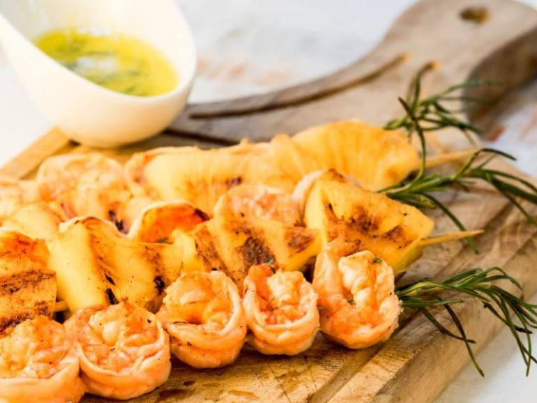 Shrimp on Rosemary Skewers with Rum Soaked Pineapple