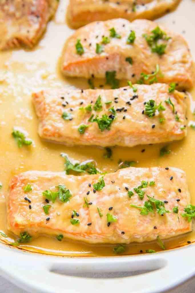 Pineapple ginger glazed baked salmon
