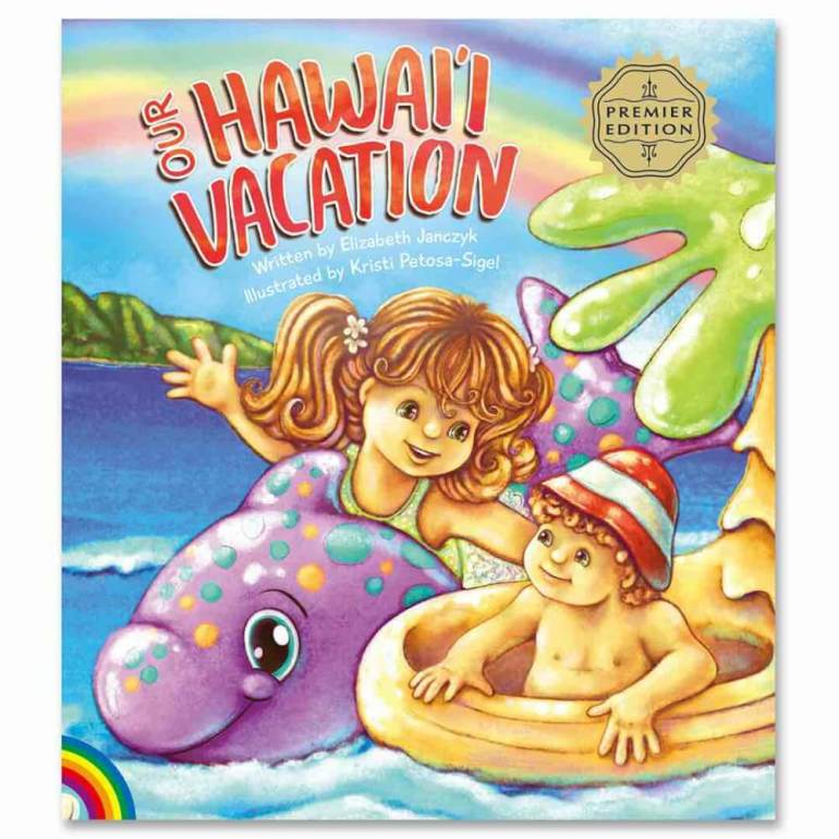One of the newest Hawaii books for kids is Our Hawai'i Vacation by Elizabeth Janczyk. Image of a Hawaiian kids book.
