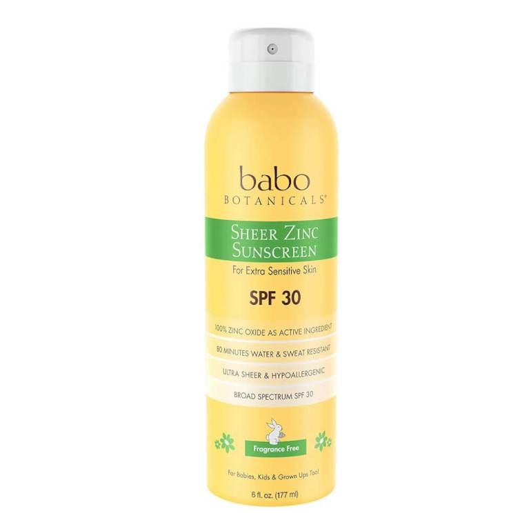 Image of Babo Botanicals sheer zinc sunscreen for babies.